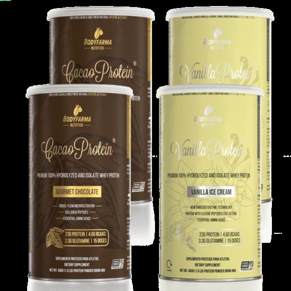 Kit 2 Whey Cacao Protein Gourmet Chocolate 450g + 2 Whey Vanilla Protein Ice-Cream 450g