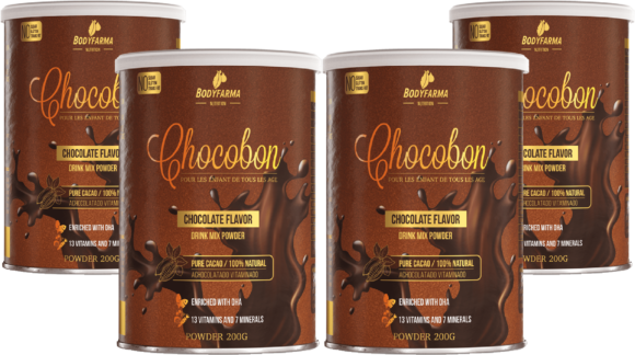 Kit Chocobon achocolatado vitaminado com DHA sem açúcar 4un.